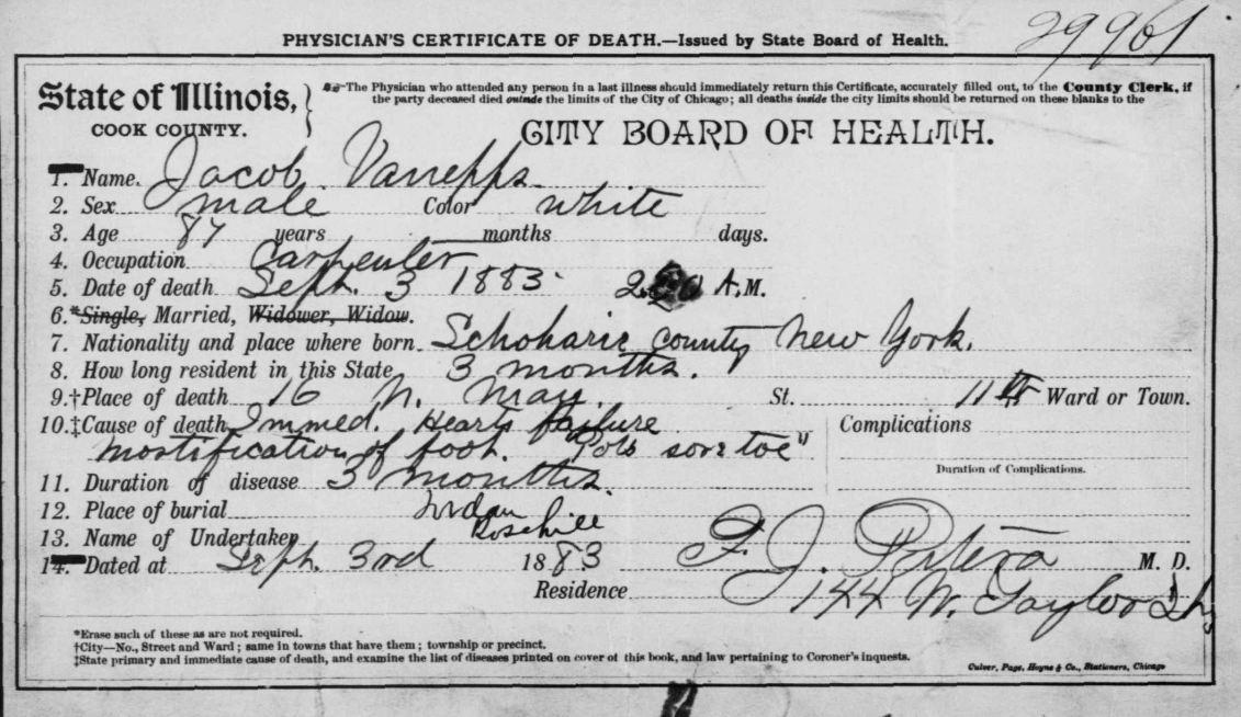 Jacob Van Epps Death Certificate